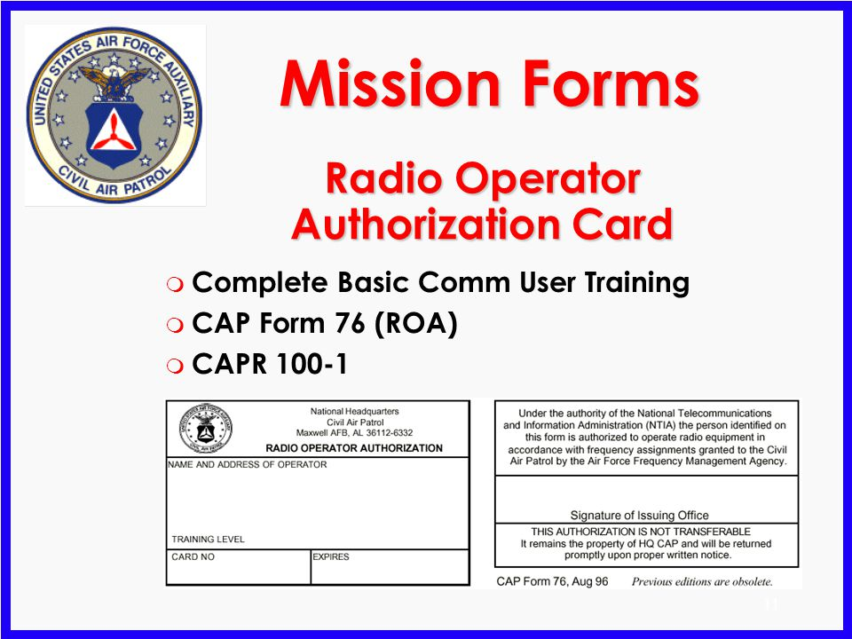 Radio Operator Authorization Card