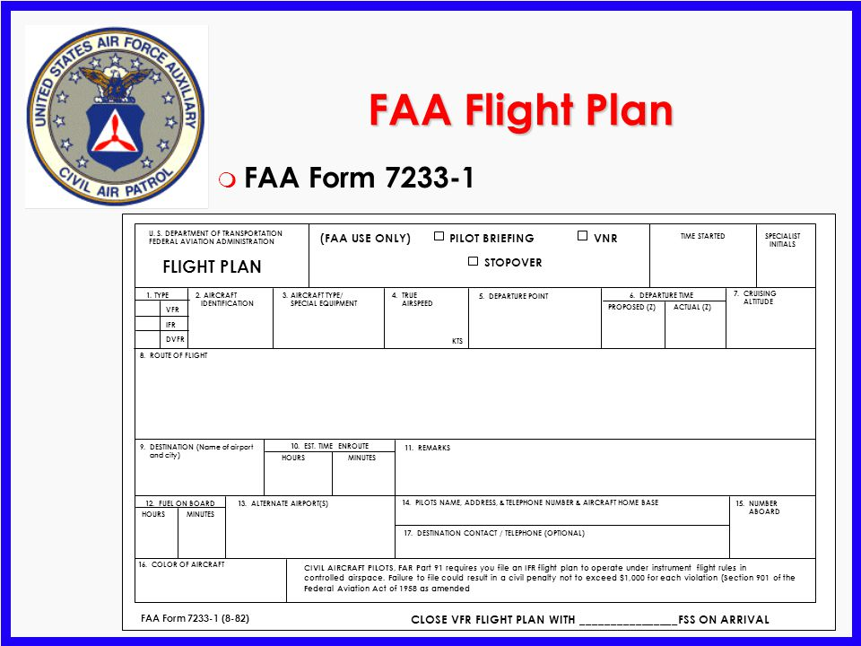 FAA Flight Plan FAA Form 7233-1 FLIGHT PLAN