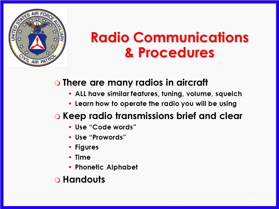 Radio Communications & Procedures
