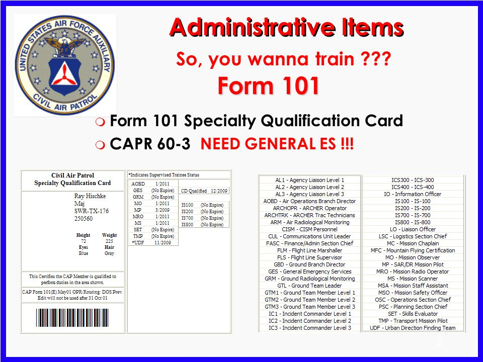 Administrative Items Form 101