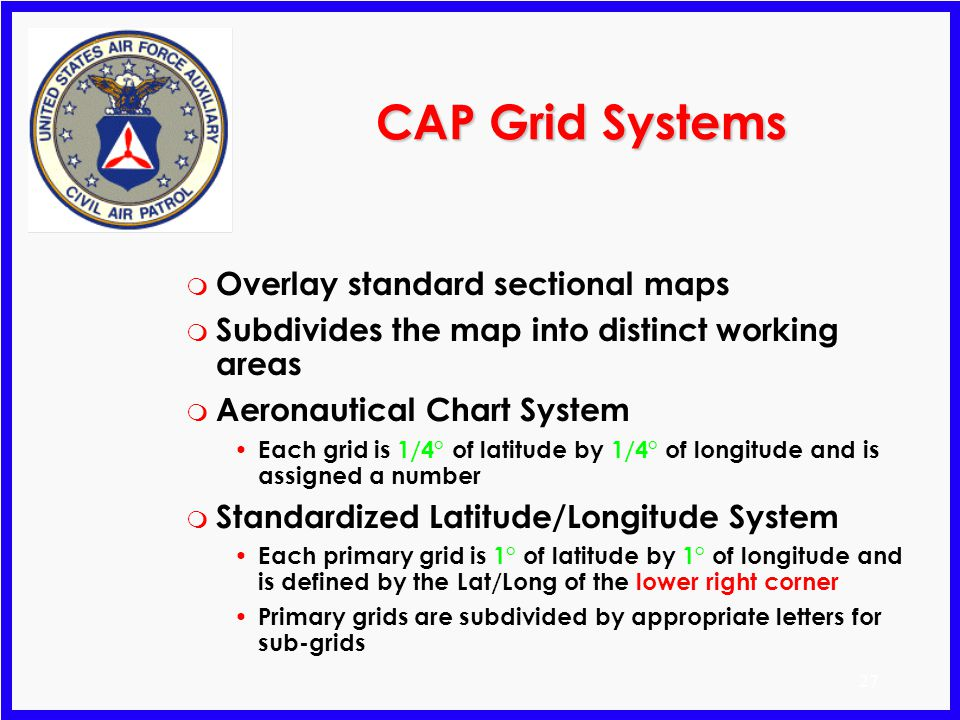 CAP Grid Systems Overlay standard sectional maps