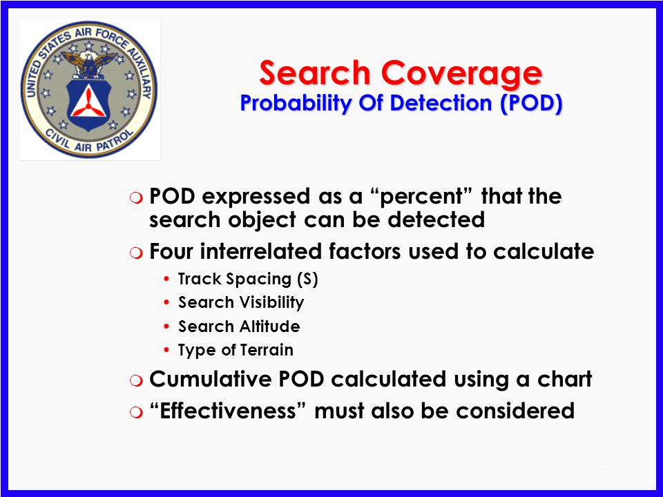 Search Coverage Probability Of Detection (POD)