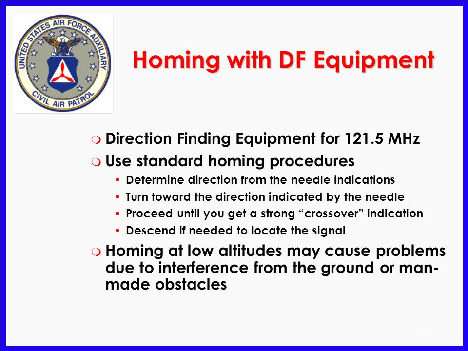 Homing with DF Equipment