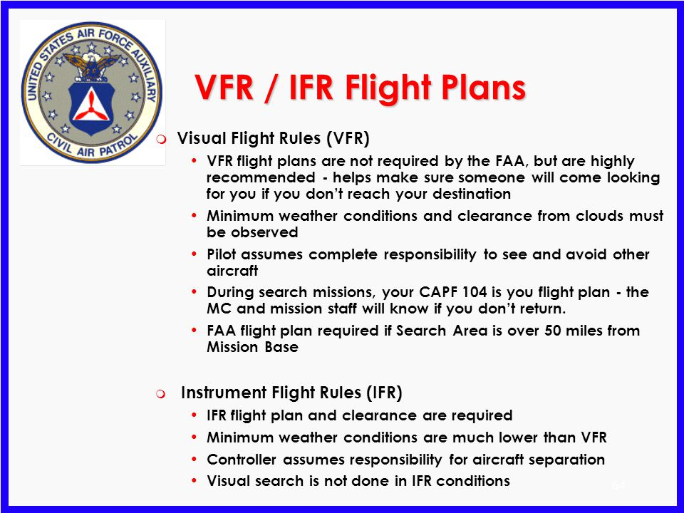 VFR / IFR Flight Plans Visual Flight Rules (VFR)