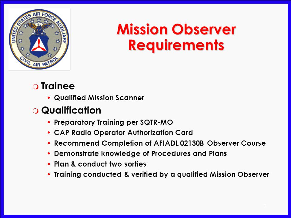 Mission Observer Requirements