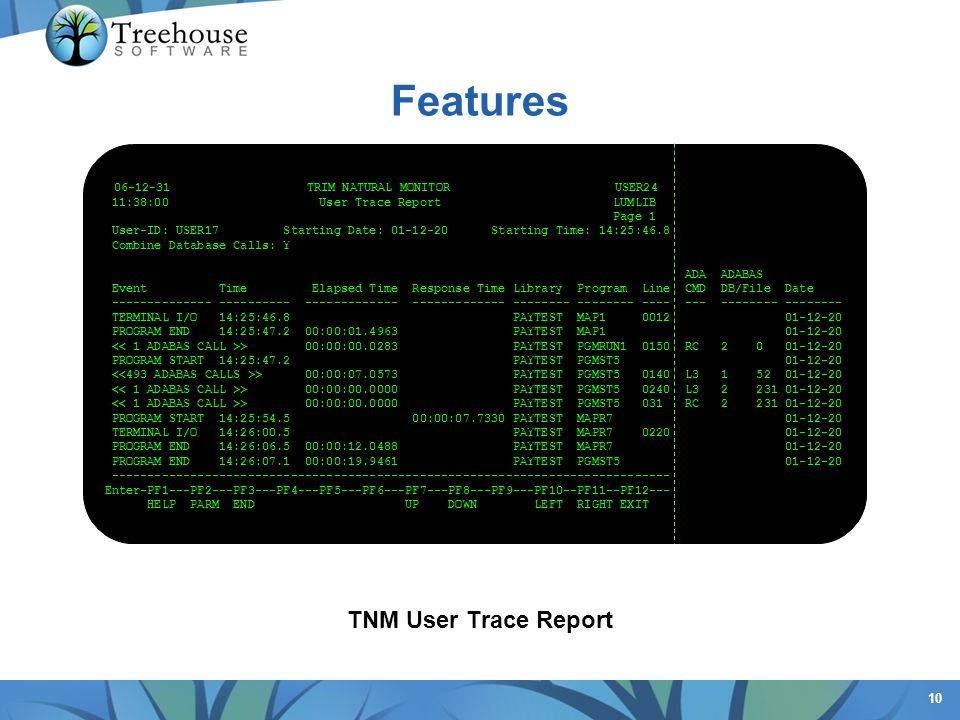 Features TNM User Trace Report 06-12-31 TRIM NATURAL MONITOR USER24