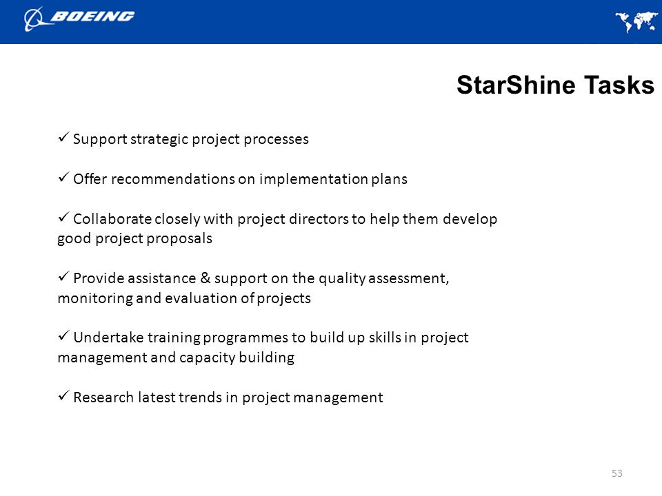 StarShine Tasks Support strategic project processes