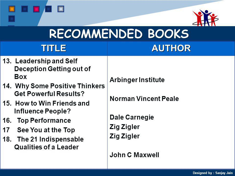 RECOMMENDED BOOKS TITLE AUTHOR