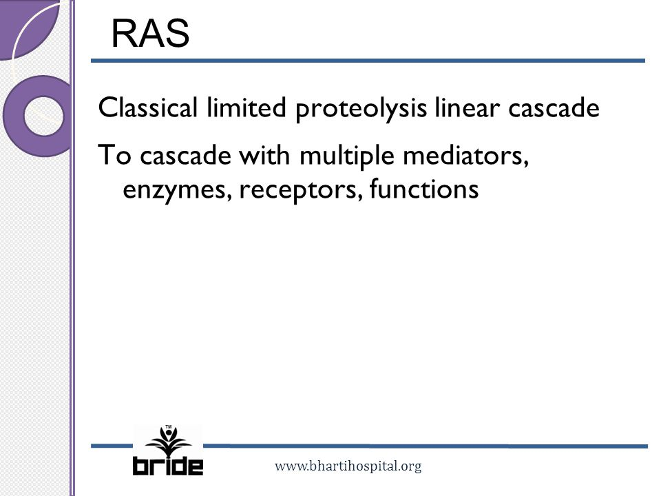 RAS Classical limited proteolysis linear cascade To cascade with multiple mediators, enzymes, receptors, functions