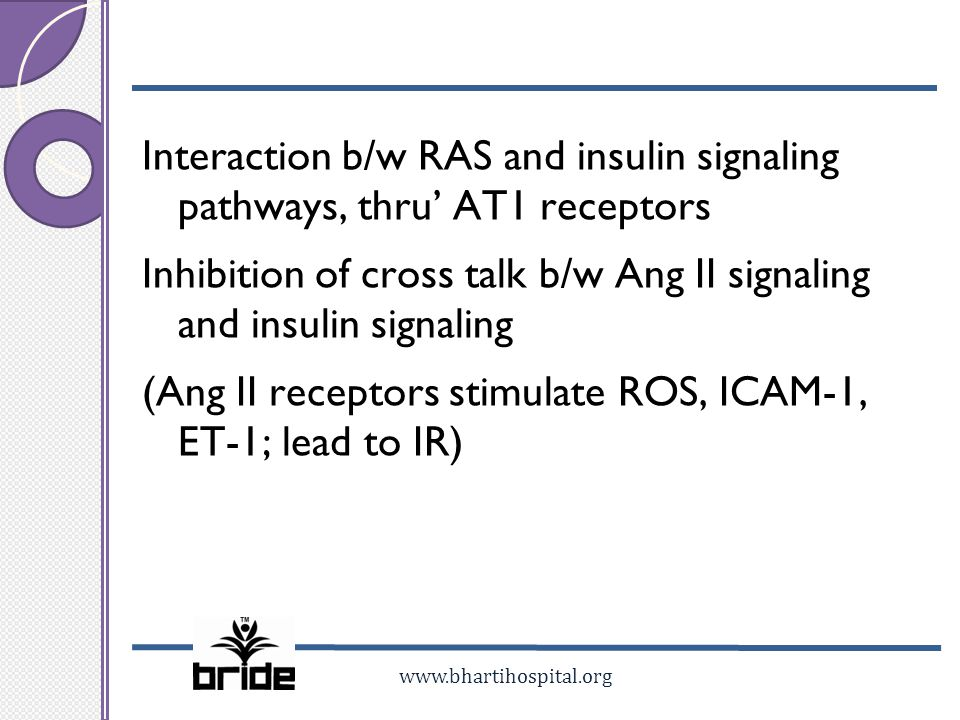 Interaction b/w RAS and insulin signaling pathways, thru' AT1 receptors Inhibition of cross talk b/w Ang II signaling and insulin signaling (Ang II receptors stimulate ROS, ICAM-1, ET-1; lead to IR)