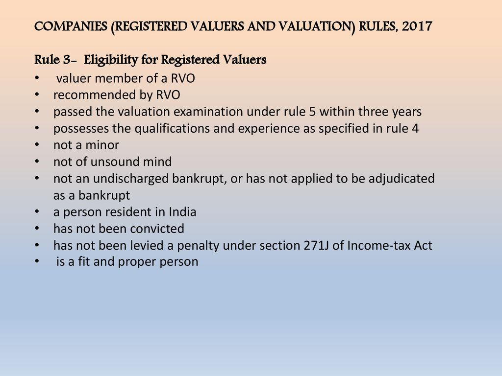 THE COMPANIES (REGISTERED VALUER & VALUATION) RULES ppt download
