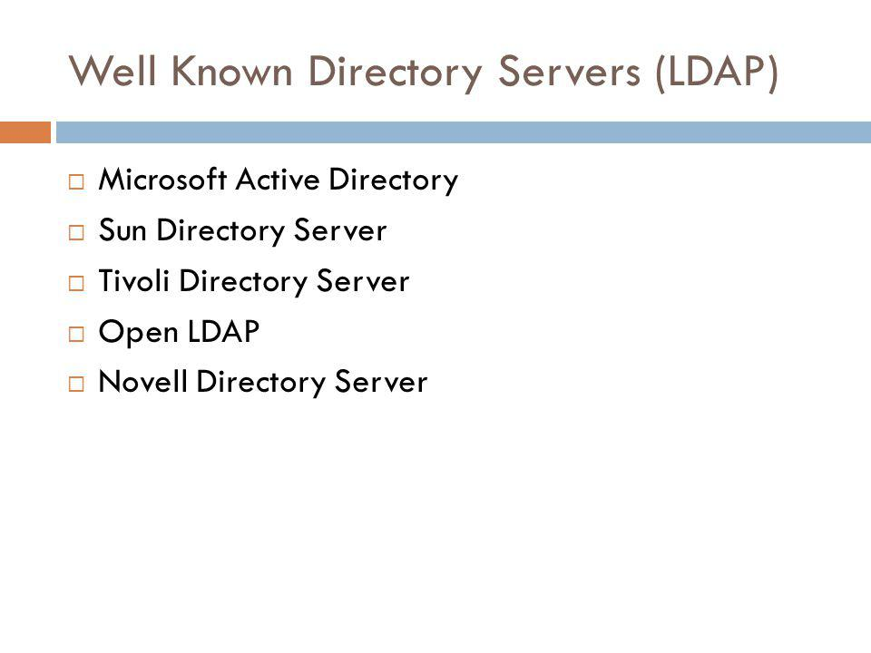 Well Known Directory Servers (LDAP)