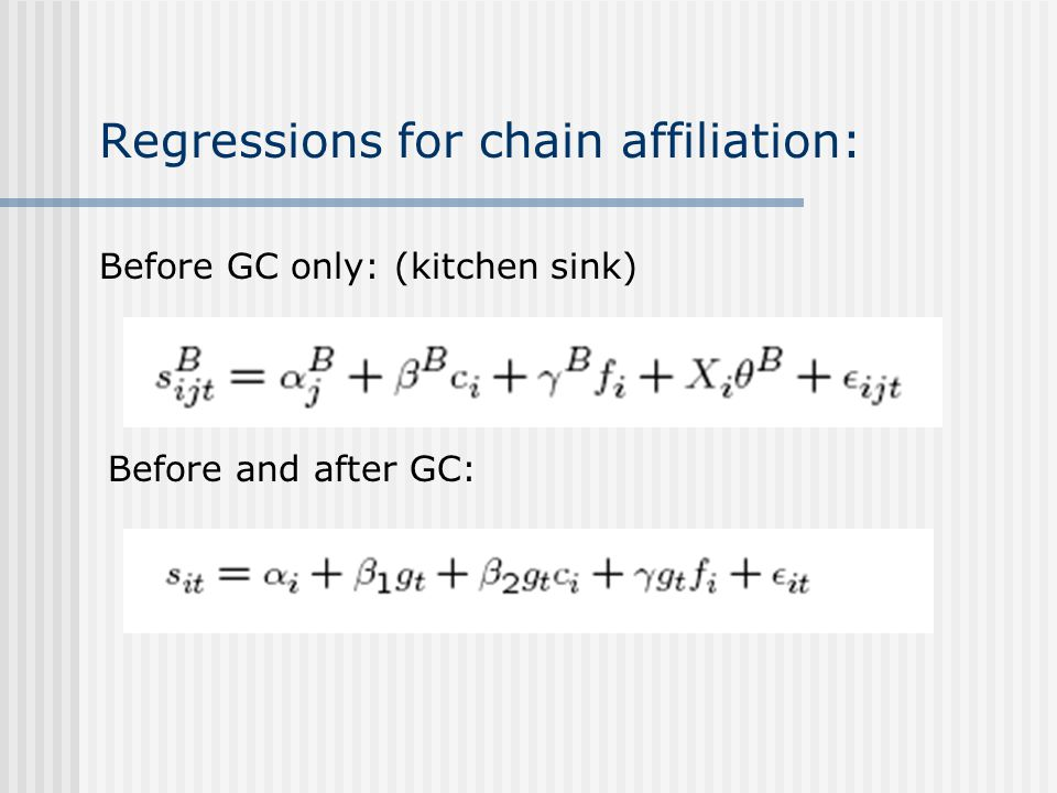 Regressions for chain affiliation: