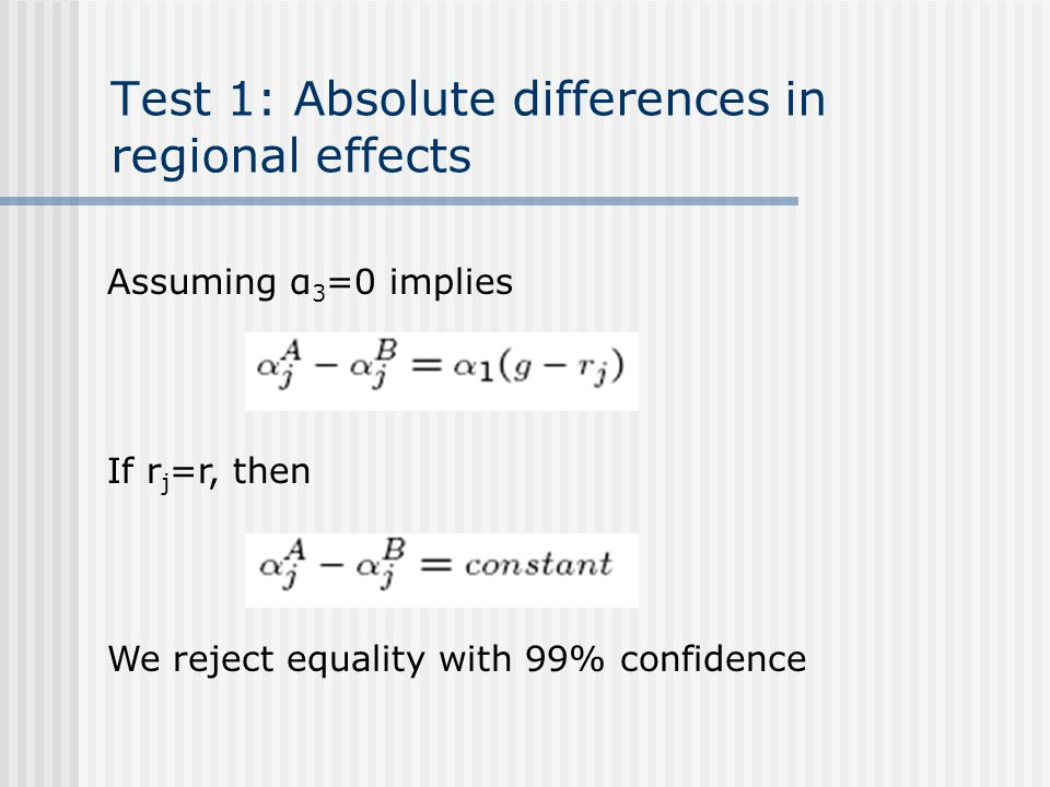 Test 1: Absolute differences in regional effects