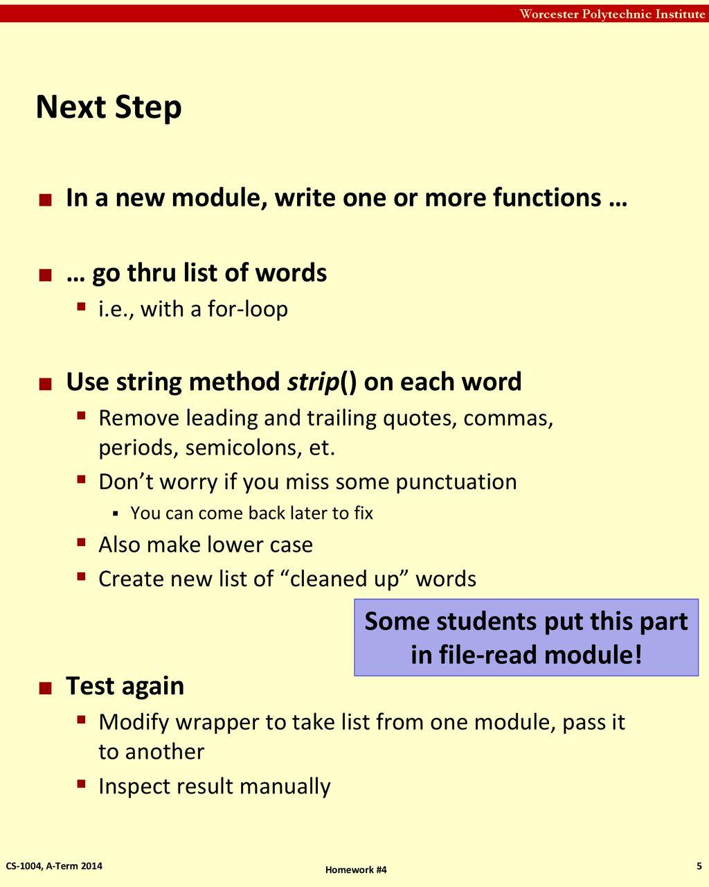 Notes about Homework #4 Professor Hugh C  Lauer CS-1004