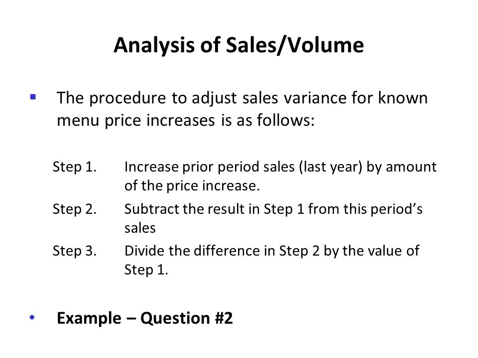Analysis of Sales/Volume