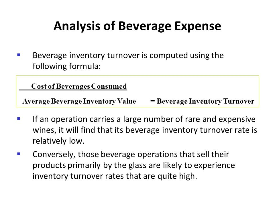 Analysis of Beverage Expense