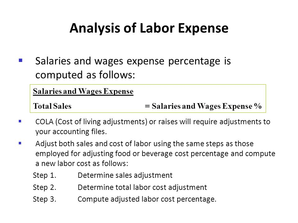 Analysis of Labor Expense