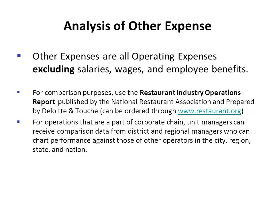 Analysis of Other Expense