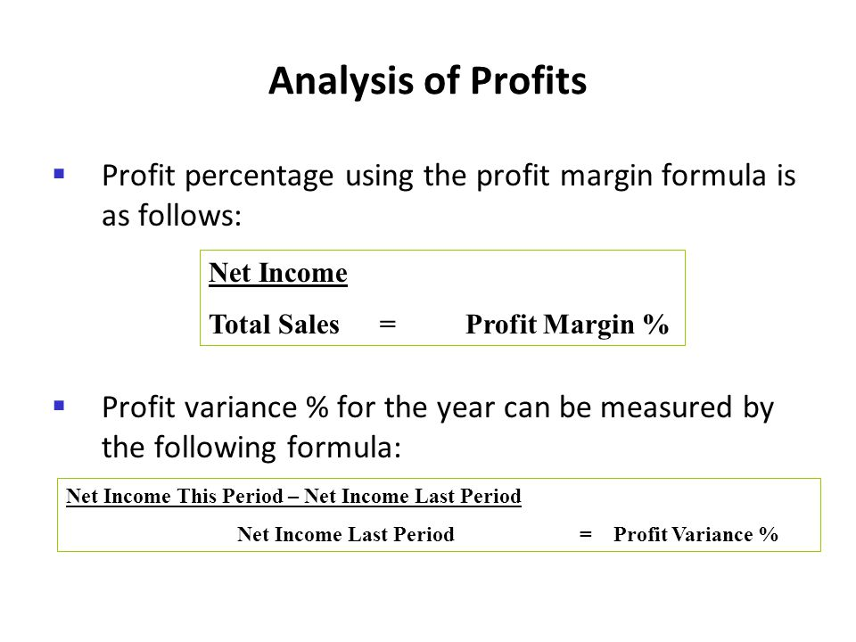Analysis of Profits Profit percentage using the profit margin formula is as follows:
