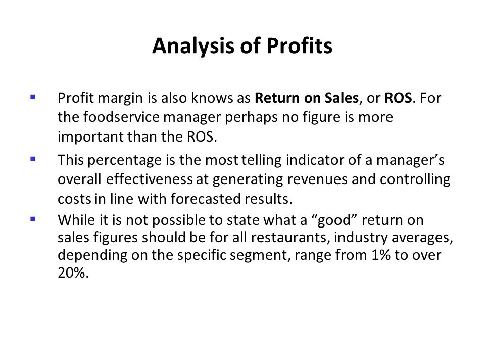 Analysis of Profits