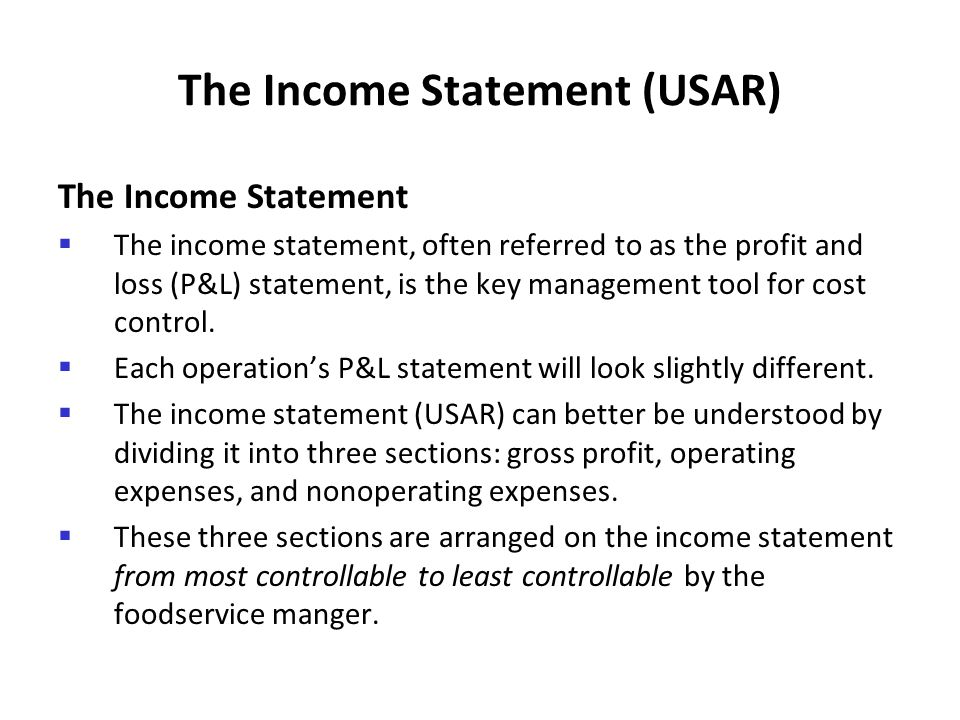 The Income Statement (USAR)