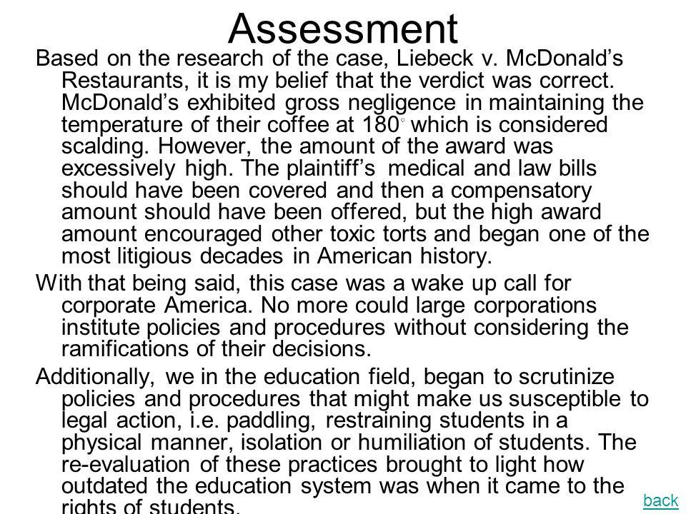 High Profile Tort Case Liebeck V Mcdonalds Restaurants Ppt