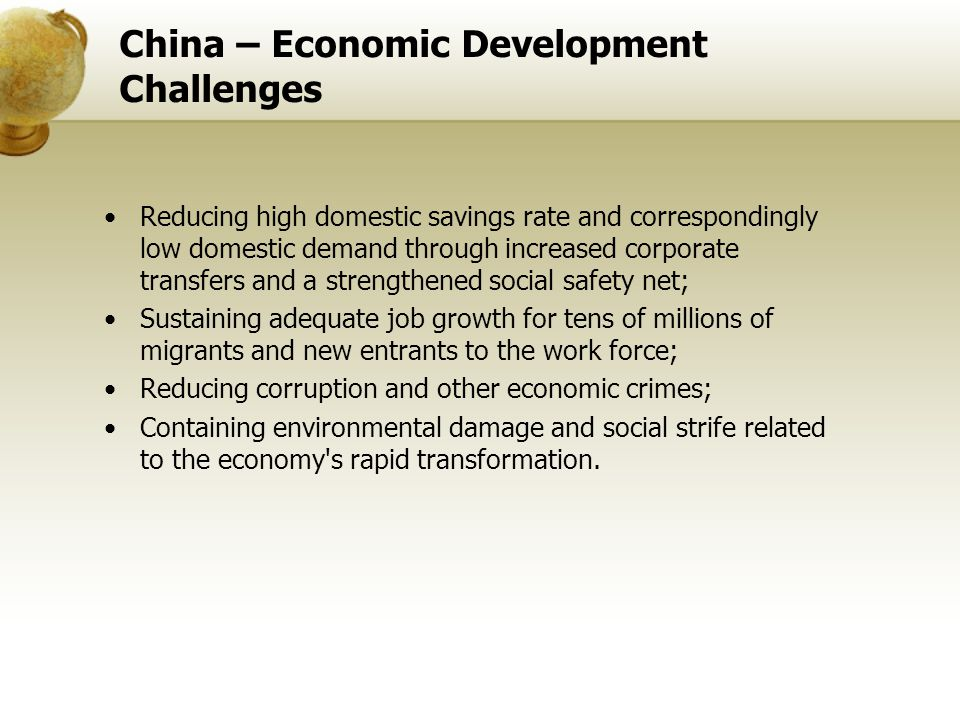 China – Economic Development Challenges