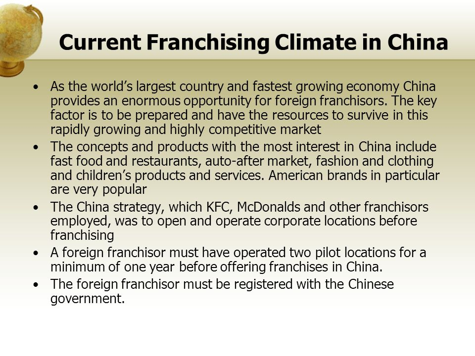 Current Franchising Climate in China