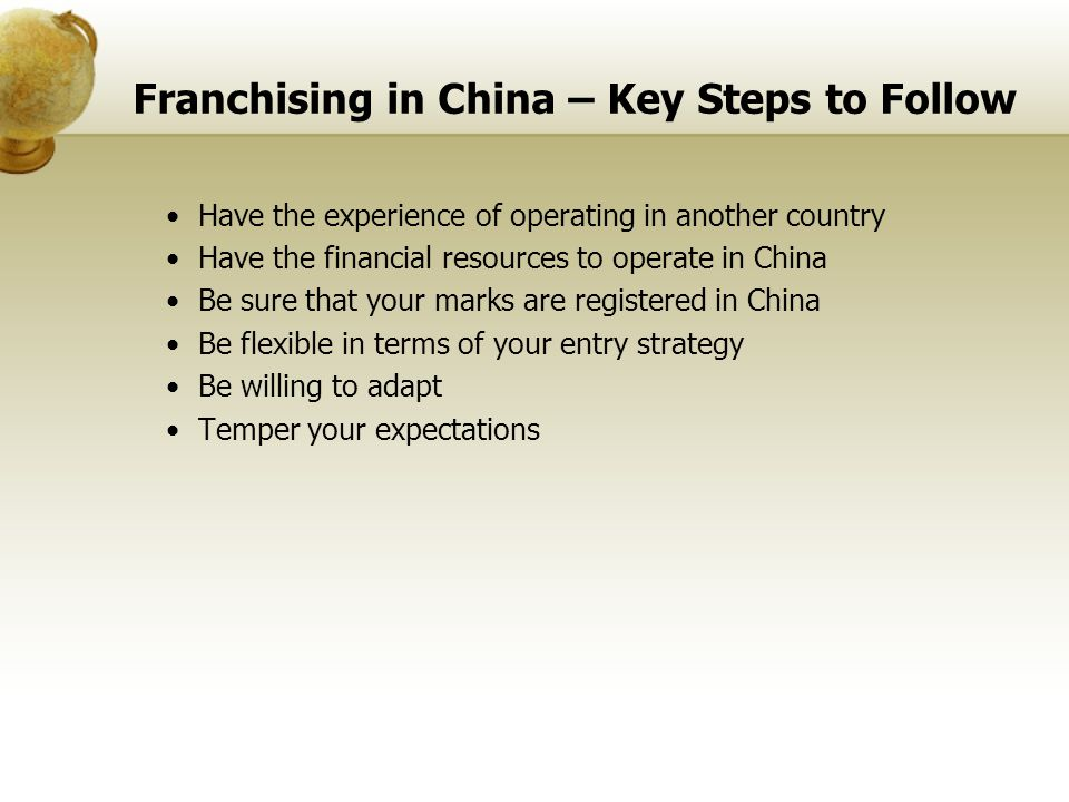 Franchising in China – Key Steps to Follow