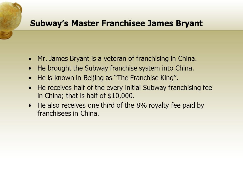 Subway's Master Franchisee James Bryant
