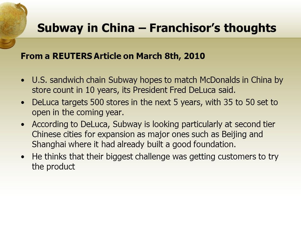 Subway in China – Franchisor's thoughts