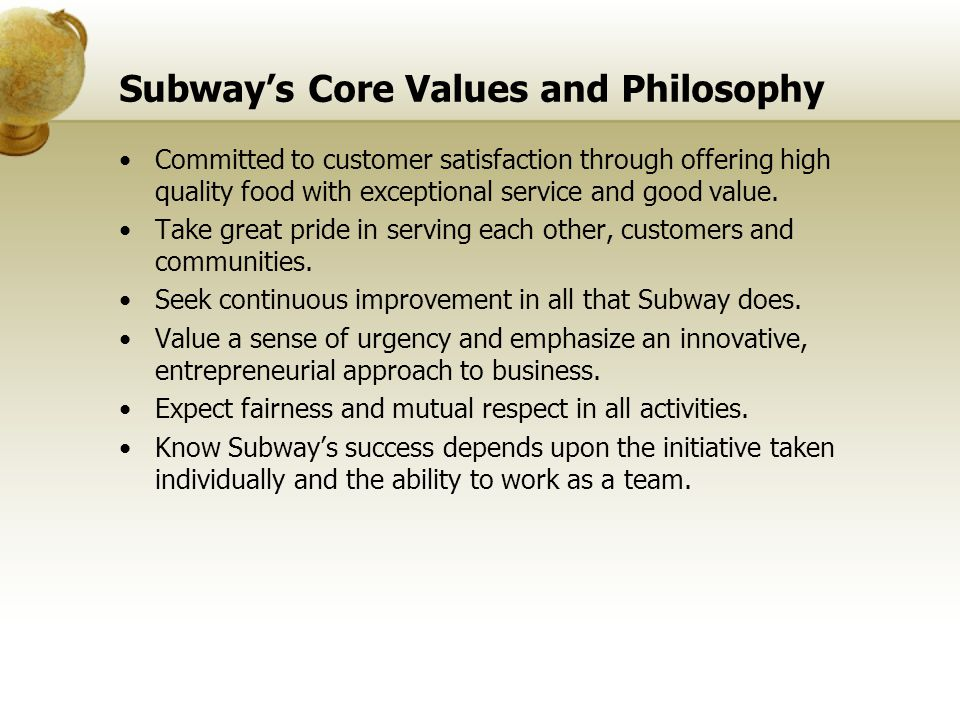 Subway's Core Values and Philosophy