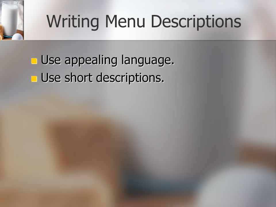 Writing Menu Descriptions