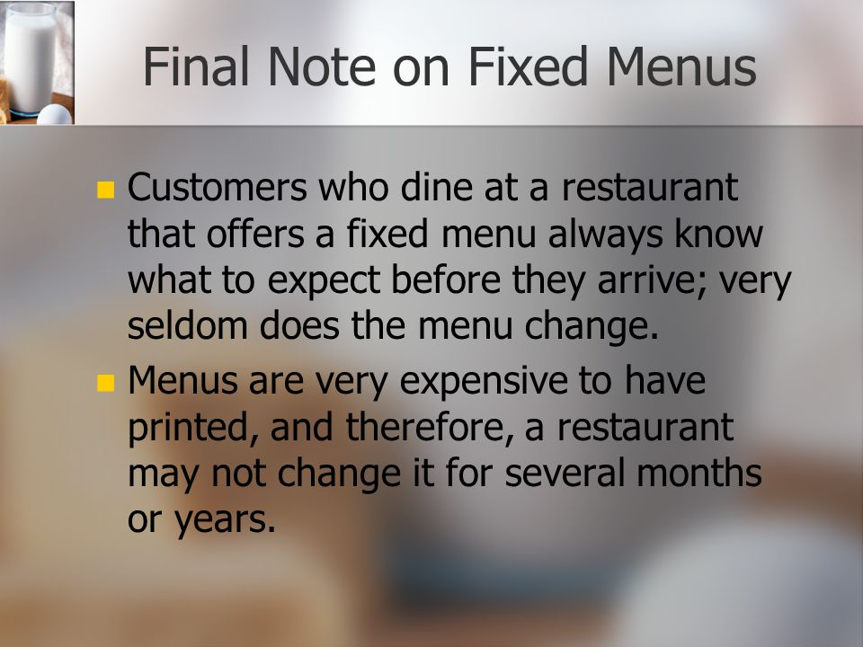 Final Note on Fixed Menus