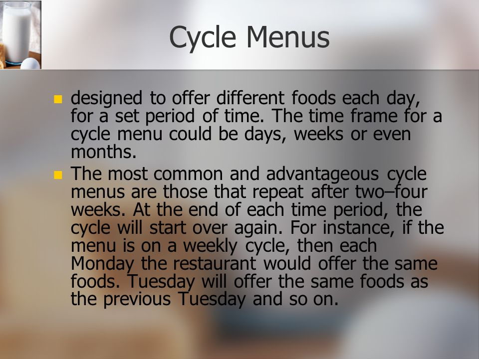 Cycle Menus