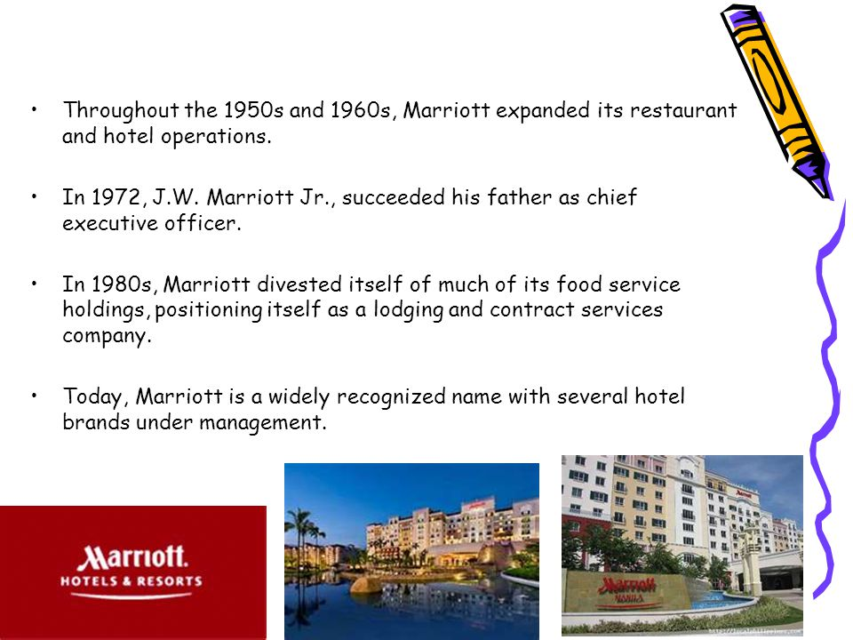 Throughout the 1950s and 1960s, Marriott expanded its restaurant and hotel operations.