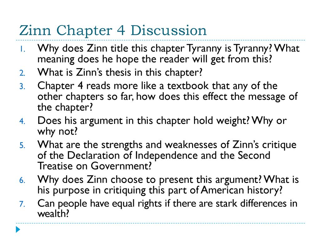 zinns thesis in tyranny is tyranny is