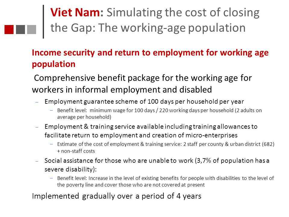 Viet Nam: Simulating the cost of closing the Gap: The working-age population