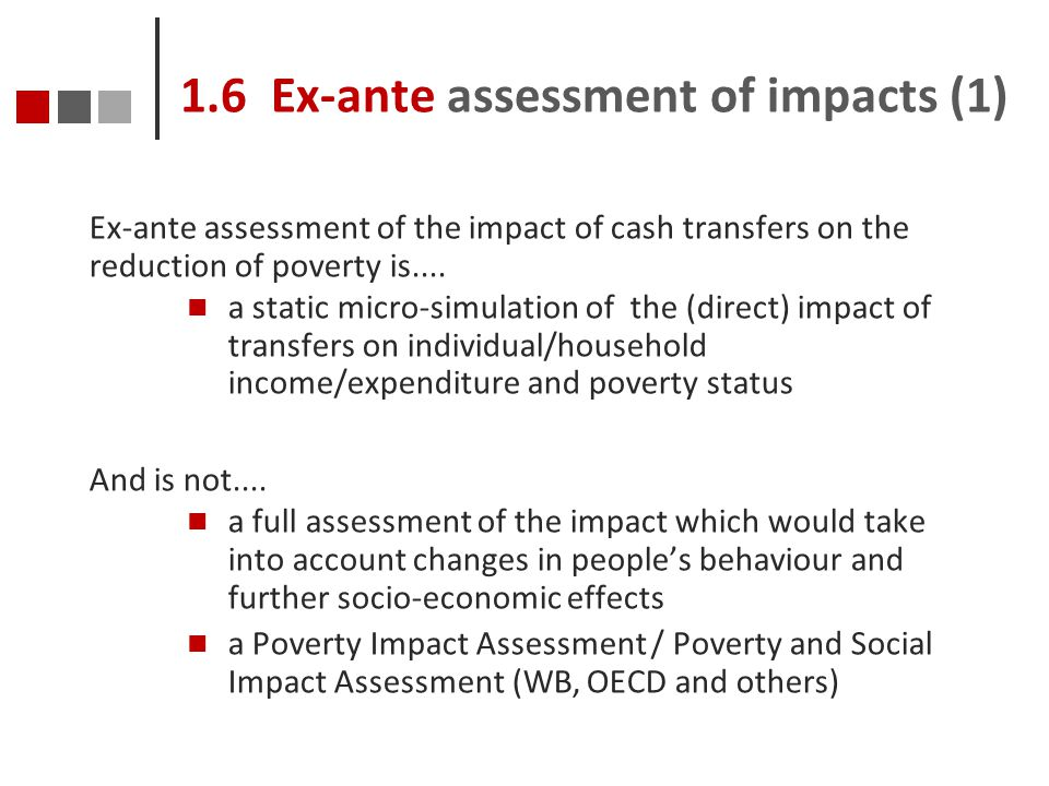 1.6 Ex-ante assessment of impacts (1)