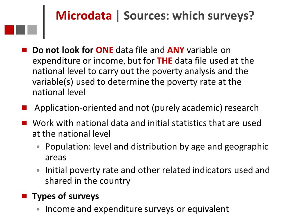 Microdata | Sources: which surveys