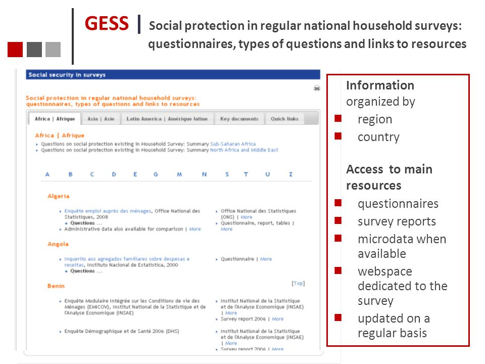 GESS | Social protection in regular national household surveys: