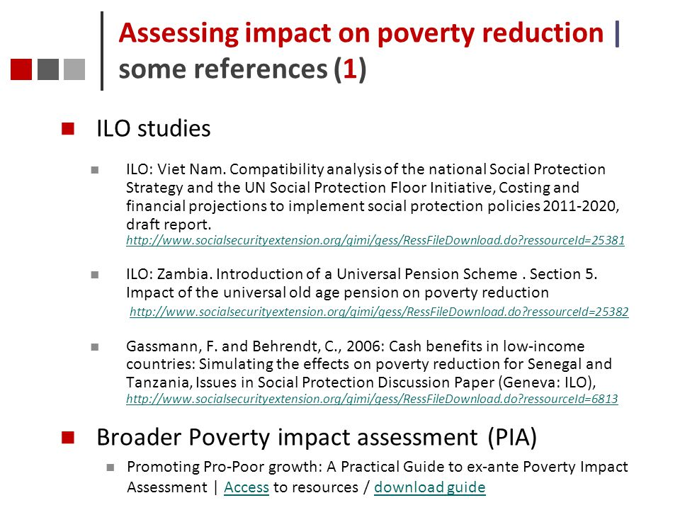 Assessing impact on poverty reduction | some references (1)