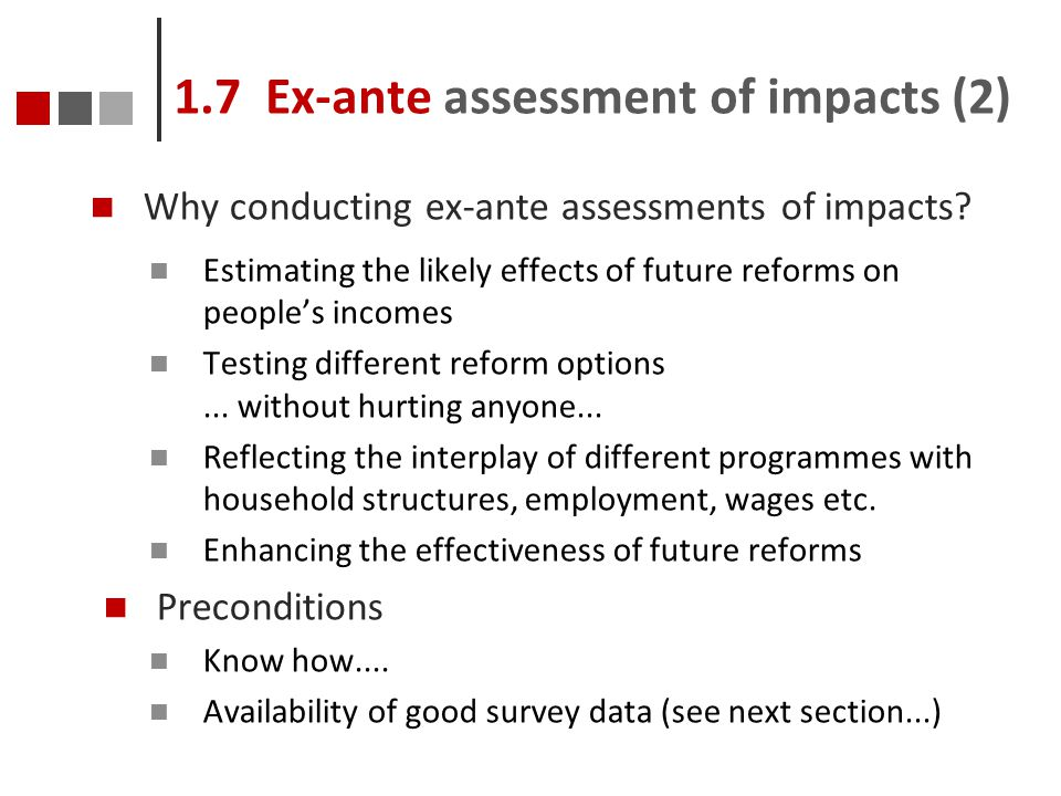 1.7 Ex-ante assessment of impacts (2)