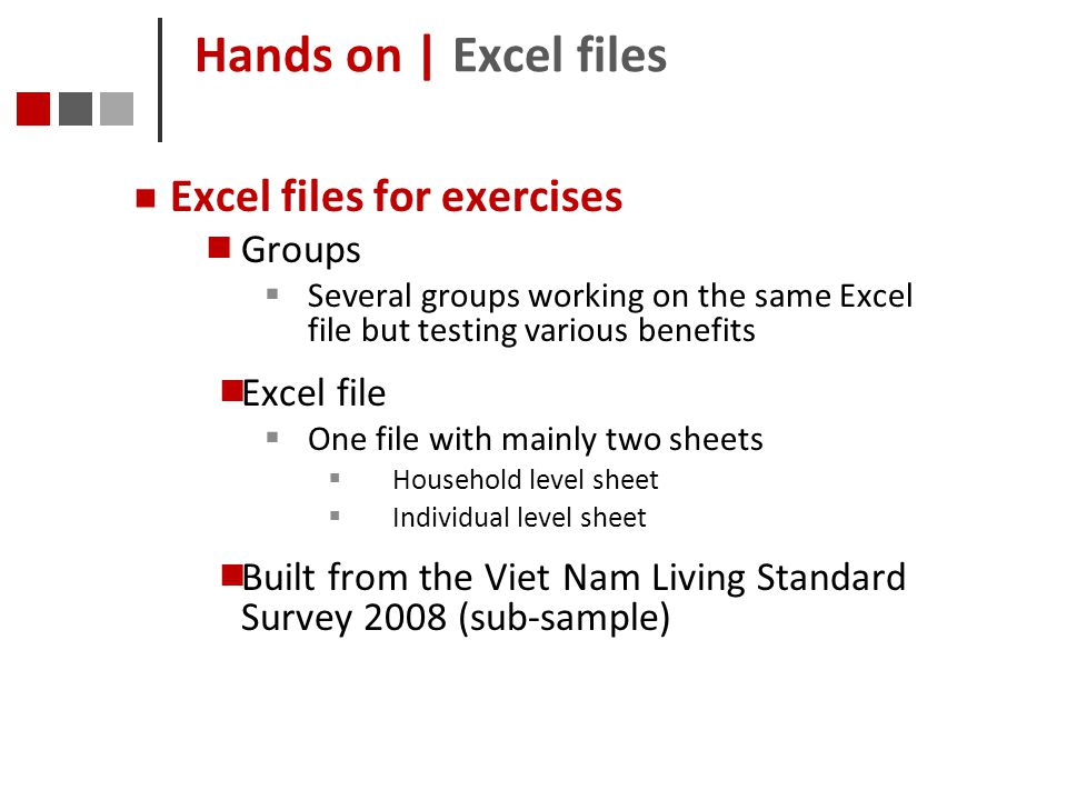Hands on | Excel files Excel files for exercises Groups Excel file