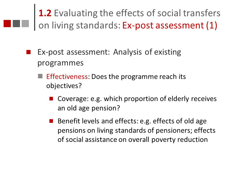 1.2 Evaluating the effects of social transfers on living standards: Ex-post assessment (1)