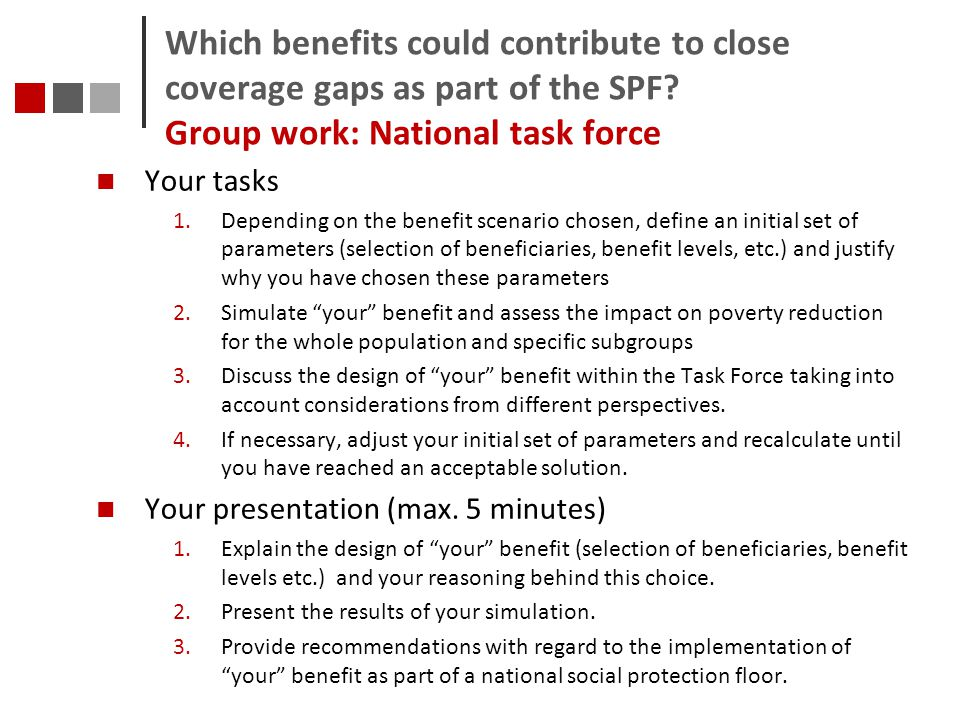 Which benefits could contribute to close coverage gaps as part of the SPF Group work: National task force