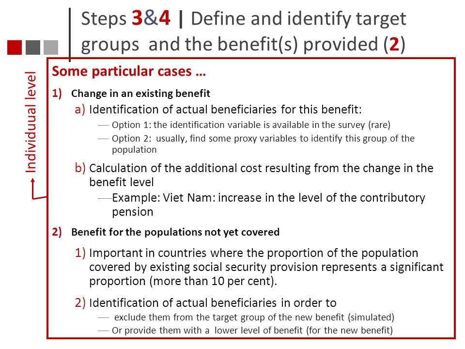 Steps 3&4 | Define and identify target groups and the benefit(s) provided (2)