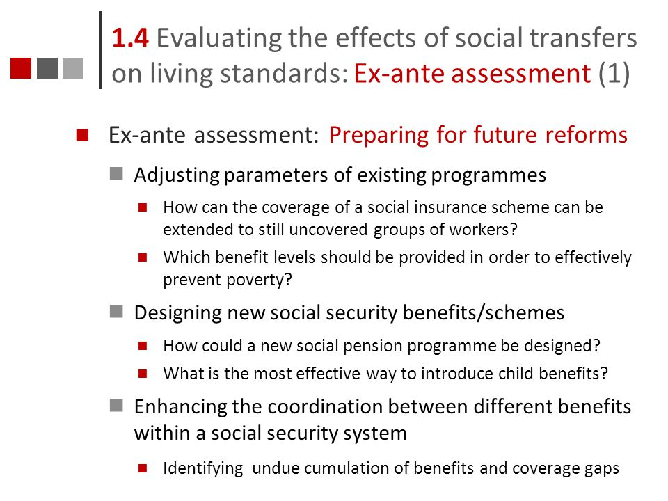 1.4 Evaluating the effects of social transfers on living standards: Ex-ante assessment (1)
