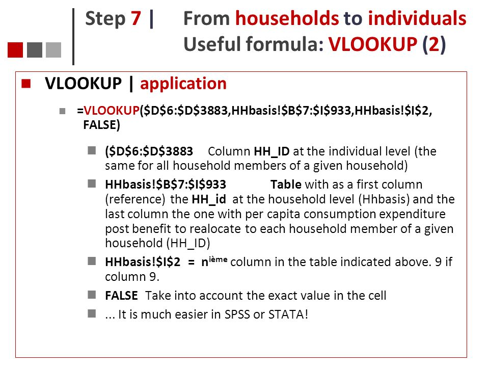 Step 7 | From households to individuals Useful formula: VLOOKUP (2)